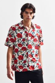 UO Wandering Rose Rayon Short Sleeve Button-Down Shirt at Urban Outfitters