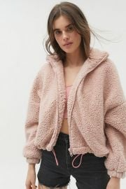 UO Willow Fuzzy Drawstring Teddy Jacket at Urban Outfitters