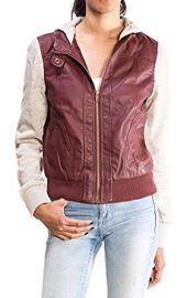 URBAN K WOMENS Moto Faux Leather Jacket with Inset Fleece Hoodie at Amazon