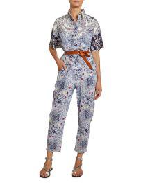 Udena Paisley-Print Cotton Utility Jumpsuit at Neiman Marcus
