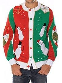 Ugly Christmas Sweater - Snowmen Dancing Cardigan at Amazon