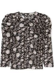 Ulla Johnson - Posey ruched floral-print cotton and silk-blend organza blouse at Net A Porter
