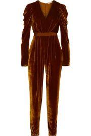 Ulla Johnson   Sabine ruffled grosgrain-trimmed velvet jumpsuit at Net A Porter