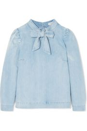 Ulla Johnson   Wes bow-embellished denim blouse at Net A Porter