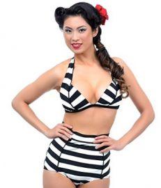 Unique Vintage Black andamp Ivory Striped Hepburn Bikini Bottom at Amazon