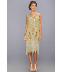 Unique Vintage Embroidered Reproduction Flapper Dress Green at Zappos