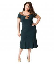 Unique Vintage Stop Staring  Plus Size 1940s Style Forest Green  amp  Brown Army Girl Wiggle Dress at Amazon