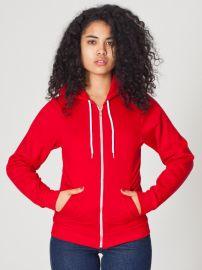 Unisex Flex Fleece Zip Hoodie in Red at American Apparel
