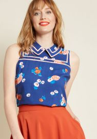Up to Innovate Collared Top in Navy Floral at Modcloth