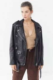 Urban Renewal Oversized Leather Biker Jacket at Urban Outfitters
