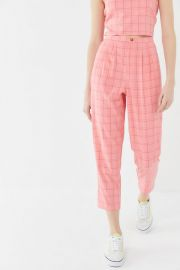 Urban Renewal Remnants Watermelon Plaid Trouser Pant at Urban Outfitters