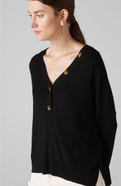 V Neck Button Detail Knit at Whistles
