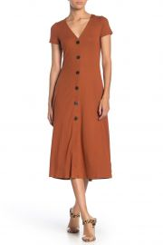 V-Neck Button Front Jersey Midi Dress by Love, Fire at Nordstrom Rack