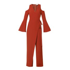 V-Neck Cold Shoulder Jumpsuit With Asymmetric Wrap Front by Paisie at Wolf and Badger