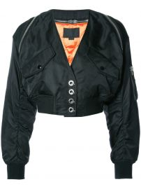 V-Neck Cropped Bomber Jacket by Alexander Wang at Farfetch