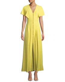 V-Neck Flounce-Sleeve Button-Front Maxi Dress by Lela Rose at Last Call