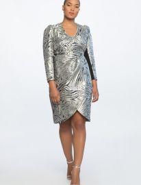 V-Neck Sharp Shoulder Dress by Eloquii at Eloquii