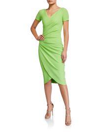 V-Neck Short-Sleeve Wrap-Front Dress by Chiara Boni La Petite Robe at Neiman Marcus