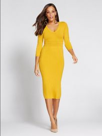 V-Neck Sweater Dress - Gabrielle Union Collection at NY&C