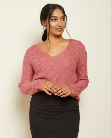 V-Neck Sweater With Buttoned Shoulders at RW&Co