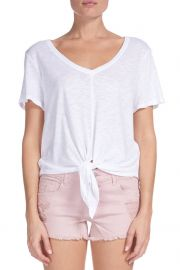 V-Neck Tie Front Tee at South Moon Under