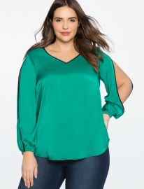 V-Neck Top with Slit Sleeve Detail at Eloquii