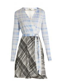 V-neck contrast-skirt wrap dress   Diane Von Furstenberg   MATCHESFASHION COM US at Matches