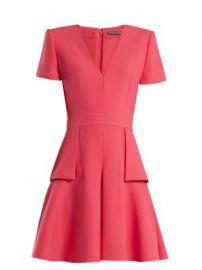 V-neck peplum-waist wool and silk-blend dress at Matches