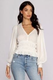 VACAY NOW SMOCKED WAIST BLOUSE at Windsor
