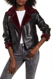 VERO MODA Falleaonie Faux Leather Moto Jacket with Faux Fur Trim   Nordstrom at Nordstrom
