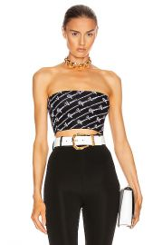 VERSACE Text Print Strapless Crop Top in Black   White   FWRD at Forward