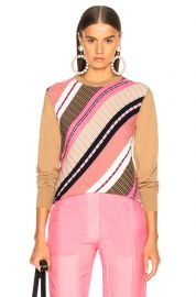 VICTORIA BECKHAM DIAGONAL STRIPE SWEATER IN CAMEL MULTICOLOR at Forward