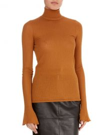 VICTORIA BECKHAM SHEER RIB-KNIT TURTLENECK SWEATER at Bergdorf Goodman