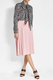 VICTORIA BECKHAM Side Pleated Crepe Skirt at Stylebop