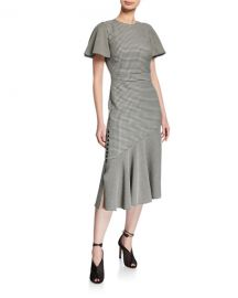 VICTORIA GINGHAM FLUTTER-SLEEVE DRESS Prabal Gurung at Bergdorf Goodman