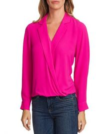 VINCE CAMUTO Crossover-Front Faux Wrap Blouse Women - Bloomingdale s at Bloomingdales