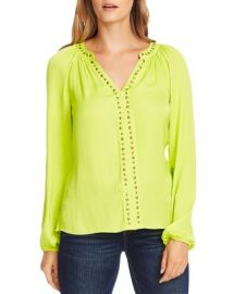 VINCE CAMUTO Stud-Trimmed Satin Blouse Women - Bloomingdale s at Bloomingdales