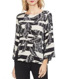 VINCE CAMUTO Tropical Leaf Stripe Blouse Women - Bloomingdale s at Bloomingdales