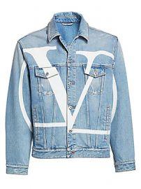 Valentino - Long-Sleeve Logo Denim Jacket at Saks Fifth Avenue