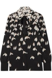 Valentino - Pussy-bow floral-print silk crepe de chine blouse at Net A Porter