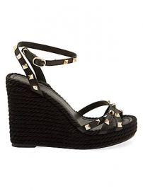 Valentino - Valentino Garavani Rockstud Torchon Leather Espadrille Wedge Sandals at Saks Fifth Avenue
