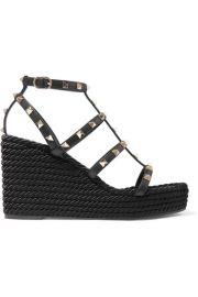 Valentino - Valentino Garavani The Rockstud 95 leather espadrille wedge sandals at Net A Porter
