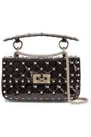 Valentino - Valentino Garavani The Rockstud Spike small quilted patent-leather shoulder bag at Net A Porter