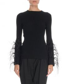 Valentino Feather-Cuff Crewneck Sweater at Neiman Marcus