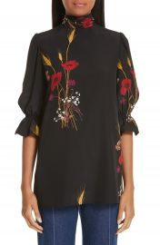 Valentino Floral Meadow Print Silk Cr  pe de Chine Blouse   Nordstrom at Nordstrom