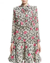 Valentino Floral Waves Tie-Neck Ruffle Blouse   Neiman Marcus at Neiman Marcus