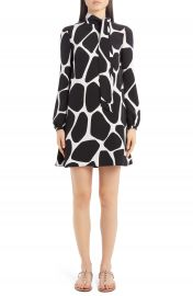 Valentino Giraffe Print Long Sleeve Silk Minidress   Nordstrom at Nordstrom
