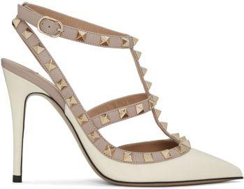 Valentino Ivory Patent Rockstud Cage Heels at Ssense