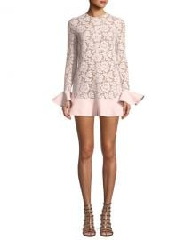 Valentino Jewel-Neck Long-Sleeve Heavy Lace Crepe Couture Dress with Ruffle Details at Neiman Marcus
