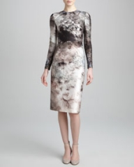 Valentino Long-Sleeve Floral-Print Dress Gray at Neiman Marcus